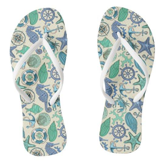 Teal Sea Animals Pattern Flip Flops