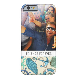 Teal Sea Animals Pattern | Your Photo & Text Barely There iPhone 6 Case