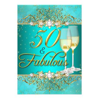 "Teal Sea Pearl & Gold Swirl 50 & Fabulous 5"" X 7"" Invitation Card"