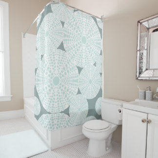 Teal Sea Urchin Shower Curtain
