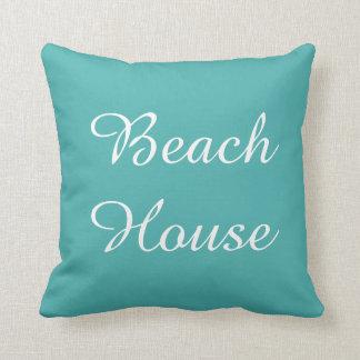 Teal Seafoam Beach House Pillow