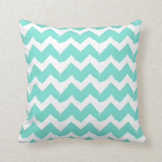 Teal Seafoam Brushstroke Chevron Throw Pillow