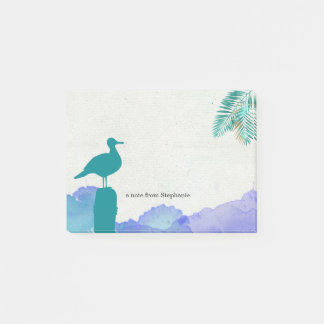 Teal Seagull and Blue Ocean Waves Post-it Notes