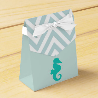 Teal Seahorse Beach Theme Baby Shower Favor Box