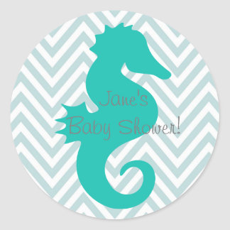 Teal Seahorse Beach Theme Baby Shower Sticker