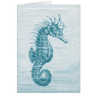 teal seahorse card