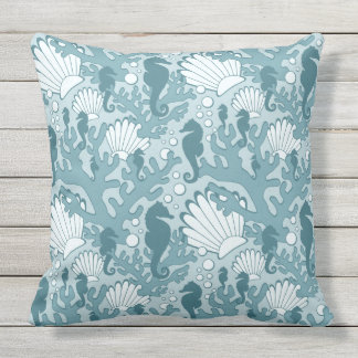 Teal Seahorse Garden Large Print Throw Pillow