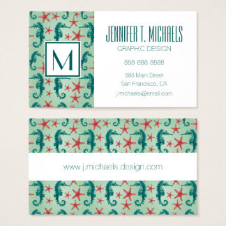 Teal Seahorse Pattern Business Card