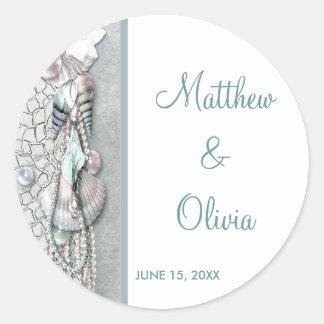 Teal Seashells Pearl Beach Wedding Favor Stickers