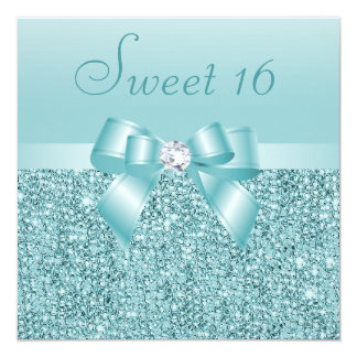 "Teal Sequins, Bow & Diamond Sweet 16 5.25"" Square Invitation Card"