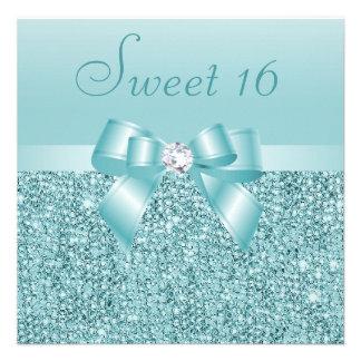 Teal Sequins Bow Diamond Sweet 16 Invites