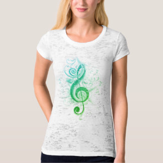 Teal Shaded Treble Clef Fitted Burnout T-Shirt
