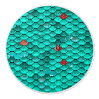 Teal Shimmer and Ruby Fish Scales Pattern Ceramic Knob