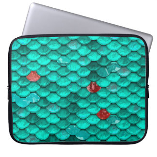 Teal Shimmer and Ruby Fish Scales Pattern Computer Sleeve