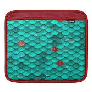 Teal Shimmer and Ruby Fish Scales Pattern Sleeve For iPads