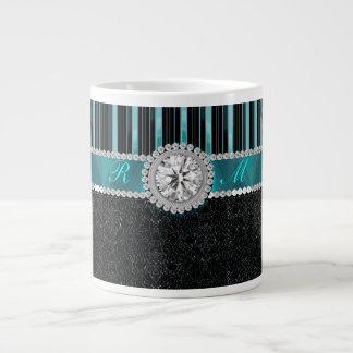 Teal , Silver and Black Diamond Monogram Giant Coffee Mug