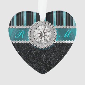 Teal , Silver and Black Diamond Monogram Ornament