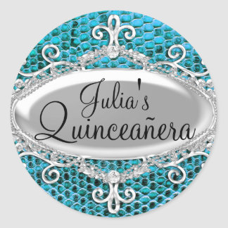 Teal Silver Animal Print Quinceanera Sticker