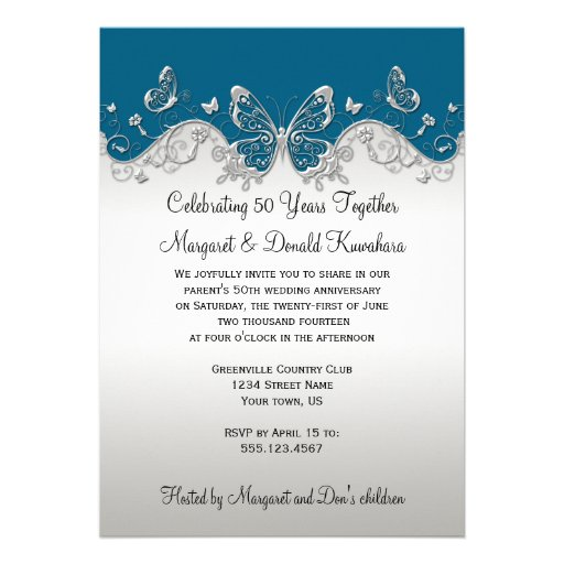 Teal Silver Butterflies 25th Anniversary Custom Invitations