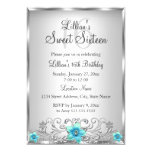 Teal Silver Floral Swirl Sweet 16 Invitation