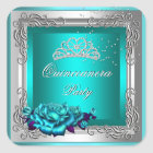 Teal Silver Roses Quinceanera 15th Birthday Square Sticker