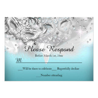 Teal Silver Sparkle Masquerade RSVP Reply Custom Announcement
