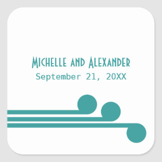 Teal Simple Deco Chic Wedding Stickers