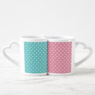 Teal Sky and Rose Pink Polka Dot Mugs