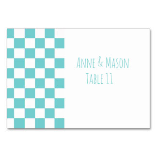 Teal Sky Checkerboard Geometric Custom Wedding Card