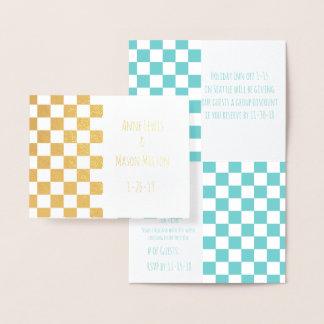Teal Sky Checkerboard Geometric Wedding RSVP Cards