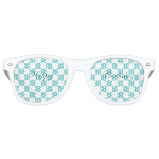 Teal Sky Checkerboard Happy Birthday Party Sunglasses