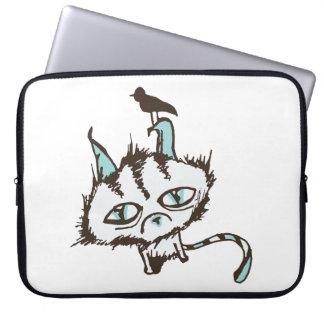 Teal Sky Kitty Laptop Sleeve