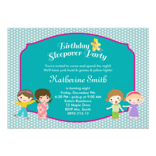 Teal Sleepover Birthday Party Invitations