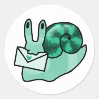 Teal Snail Mail Round Sticker