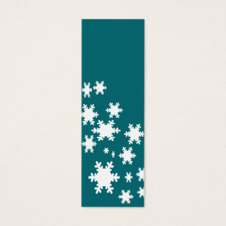 Teal Snow Flakes Bookmarks Mini Business Card