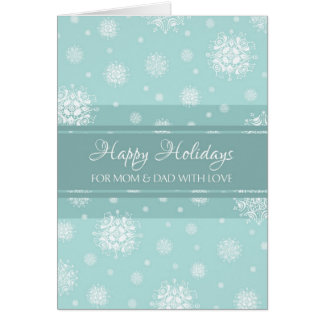 Teal Snow Parents Happy Holidays Christmas Card