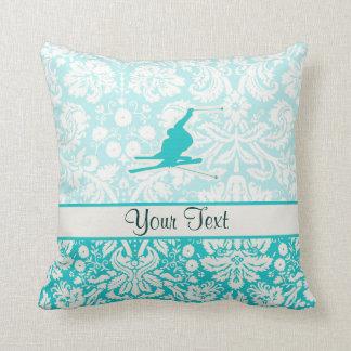 Teal Snow Skiing Throw Pillow