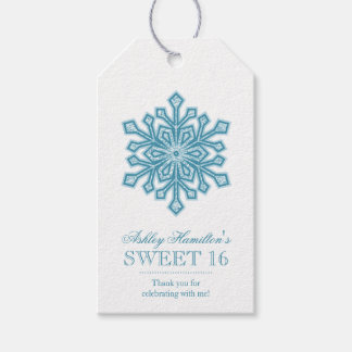 Teal Snowflake Faux Glitter Sweet 16 Winter Gift Tags