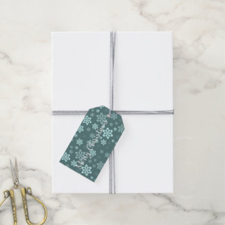 Teal Snowflake Pattern Gift Tags