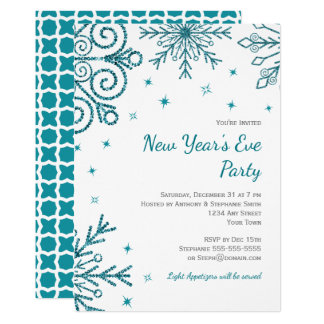 Teal Snowflakes New Year's Eve Party Invites
