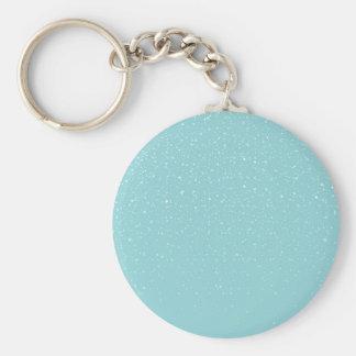 Teal  Snowy Warm Winter Wonderland Basic Round Button Keychain
