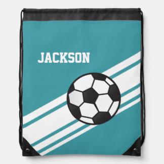 Teal Soccer Stripes Drawstring Bag