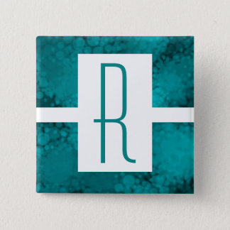 Teal Speckled Monogram 2 Inch Square Button