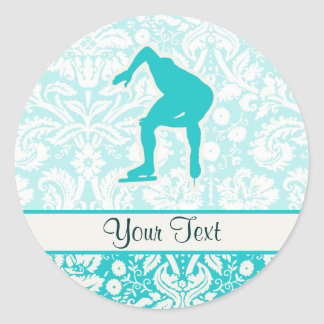 Teal Speed Skater Round Sticker