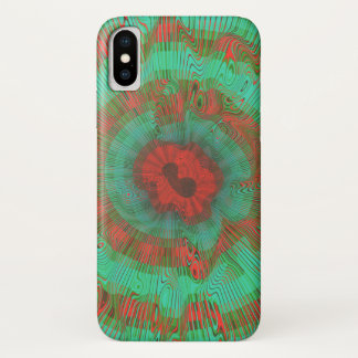 Teal Spiral Psychedelic iPhone X Case