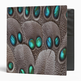 Teal spotted pheasant feather 3 ring binders