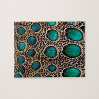 Teal Spotted pheasant feather Jigsaw Puzzle
