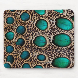 Teal Spotted pheasant feather Mouse Pad