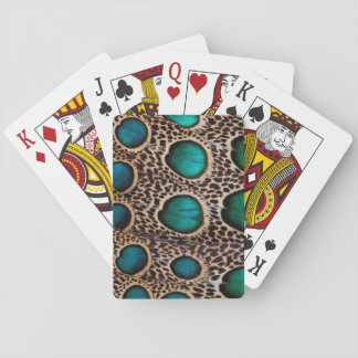 Teal Spotted pheasant feather Playing Cards