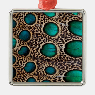 Teal Spotted pheasant feather Silver-Colored Square Ornament